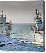 Royal Navy Aircraft Carrier Hms Ark Royal Conducts A Replenishment At Sea  Canvas Print
