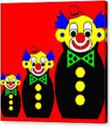 3 Russian Clown Dolls on red Canvas Print