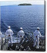 Sailors Man The Rails Aboard Canvas Print