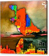 San Jose Map And Skyline Canvas Print
