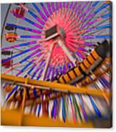 Santa Monica Pier Ferris Wheel And Roller Coaster At Dusk Canvas Print