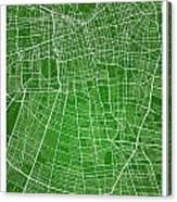 Santiago Street Map - Santiago Chile Road Map Art On Colored Bac Canvas Print