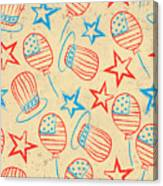 Seamless Pattern For 4th Of July Canvas Print