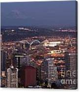 Seattle Skyline With Mount Rainier And Downtown City Lights Canvas Print