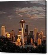 Seattle Skyline With Space Needle And Stormy Weather Canvas Print