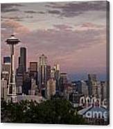 Seattle Skyline With Space Needle And Stormy Weather With Mount  Canvas Print
