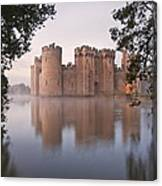 Stunning Moat And Castle In Autumn Fall Sunrise With Mist Over M Canvas Print