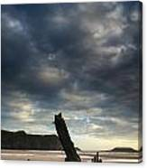 Stunning Shipwreck On Rhosilli Bay Beach Landscape At Sunset Canvas Print