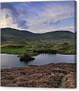 Stunning Sunrise Panorama Landscape Of Heather With Mountain Lak Canvas Print