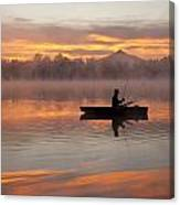 Sunrise In Fog Lake Cassidy With Fisherman In Small Fishing Boat Canvas Print