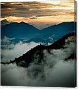 Sunset Himalayas Mountain Nepal Panaramic View Canvas Print