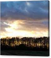 Sunset Over Trees In An English Field Canvas Print