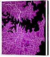 Sydney Street Map - Sydney Australia Road Map Art On Colored Bac Canvas Print