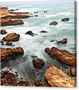The Jagged Rocks And Cliffs Of Montana De Oro State Park In California Canvas Print