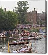 The Olympic Torch Leaves Hampton Court On The Final Leg Of Its J Canvas Print