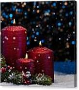 Three Red Candles In Snow  Canvas Print