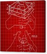 Thumb Wrestling Game Patent 1991 - Red Canvas Print