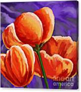 3 Tulips Red Purple Canvas Print