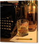 Typewriter And Whiskey Canvas Print