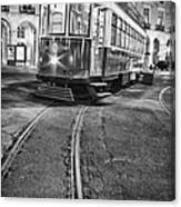 Typical Lisbon Tram In Commerce Square Canvas Print