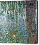 Waterlilies Morning With Weeping Willows Canvas Print