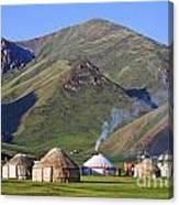 Yurts In The Tash Rabat Valley Of Kyrgyzstan  Canvas Print