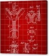 Zipper Patent 1914 - Red Canvas Print