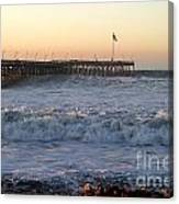 Ocean Wave Storm Pier Canvas Print
