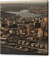 Aerial View Of Seattle Skyline Along Waterfront Canvas Print