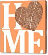 Austin Street Map Home Heart - Austin Texas Road Map In A Heart Canvas Print