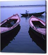 Boats On The Ganges River Canvas Print