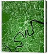 Brisbane Street Map - Brisbane Australia Road Map Art On Colored Canvas Print