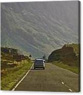 Cars And Other Vehicles On A Road In The Scottish Highlands Canvas Print