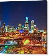 Charlotte City Skyline Night Scene Canvas Print