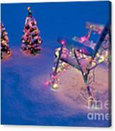 Christmas Lights On Trees And Lawn Chair Canvas Print
