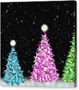 4 Christmas Trees Canvas Print