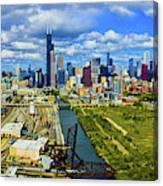 City At The Waterfront, Lake Michigan Canvas Print