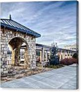 Cultured Stone Terrace Trellis Details Near Park In A City  Canvas Print