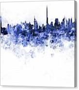 Dubai Skyline In Watercolour On White Background Canvas Print