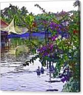 Ducks And Flowers In Lagoon Water Canvas Print