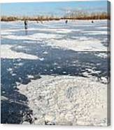 Fishermen On The Frozen River Canvas Print
