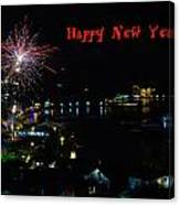 Happy New Year Greeting Card - Fireworks Display Canvas Print