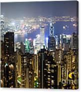 Hong Kong Harbor From Victoria Peak At Night Canvas Print