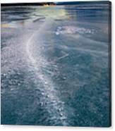 Ice Pattern On Frozen Abraham Lake Canvas Print