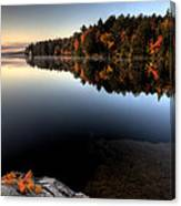 Lake In Autumn Sunrise Reflection Canvas Print