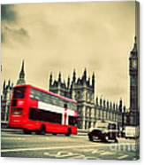 London Uk Red Bus In Motion And Big Ben Canvas Print