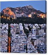 Lycabettus Hill During Dusk Time Canvas Print