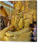 4 M Tall Sitting Buddha With Thick Layer Of Golden Leaves In Mahamuni Pagoda Mandalay Myanmar Canvas Print