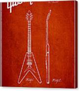 Mccarty Gibson Electric Guitar Patent Drawing From 1958 - Red Canvas Print