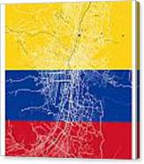 Medellin Street Map - Medellin Colombia Road Map Art On Colored  Canvas Print